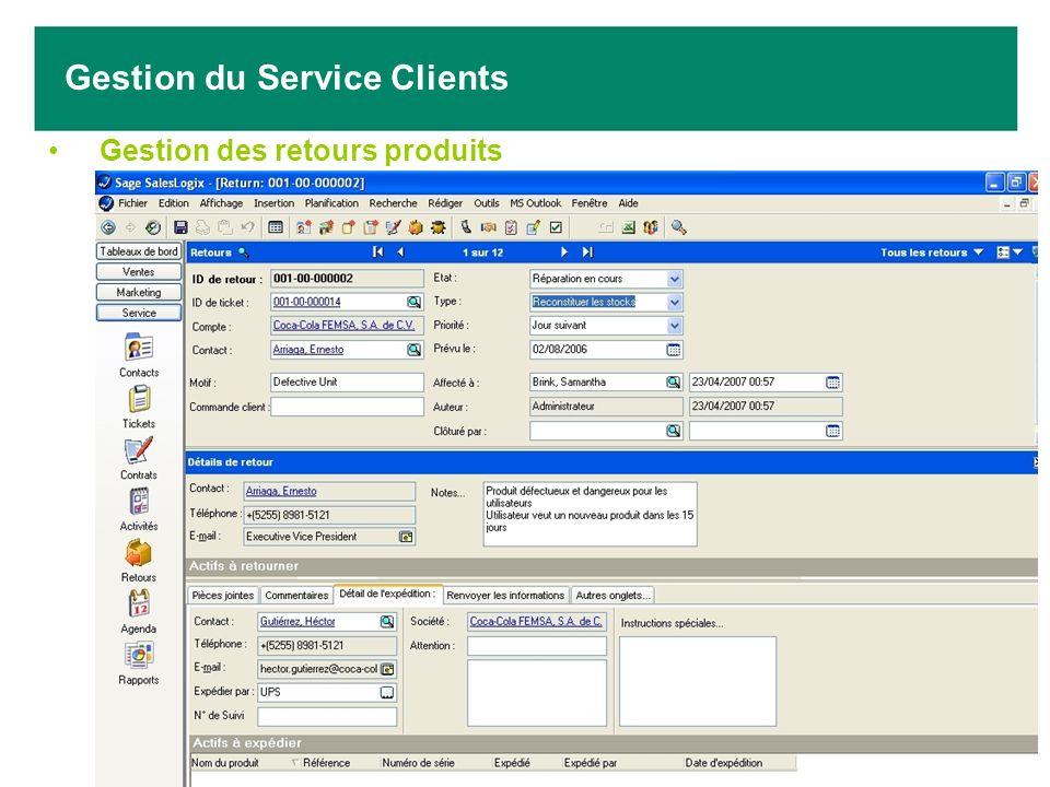 Gestion des retours produits Gestion du Service Clients