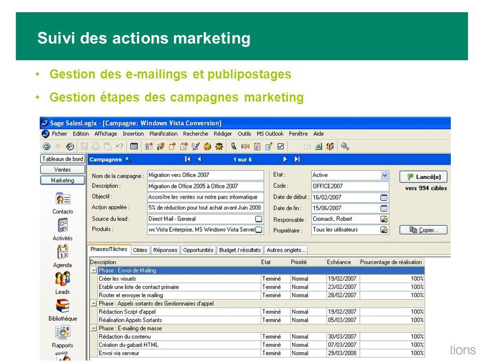 Suivi des actions marketing Gestion des e-mailings et publipostages Gestion étapes des campagnes marketing