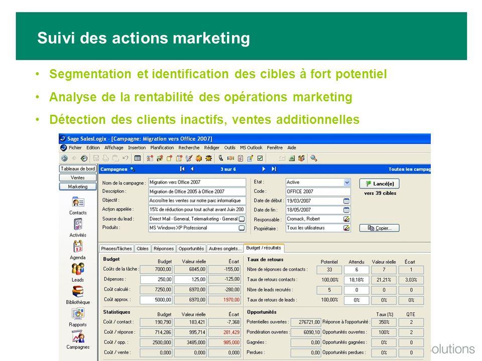 Suivi des actions marketing Segmentation et identification des cibles à fort potentiel Analyse de la rentabilité des opérations marketing Détection de