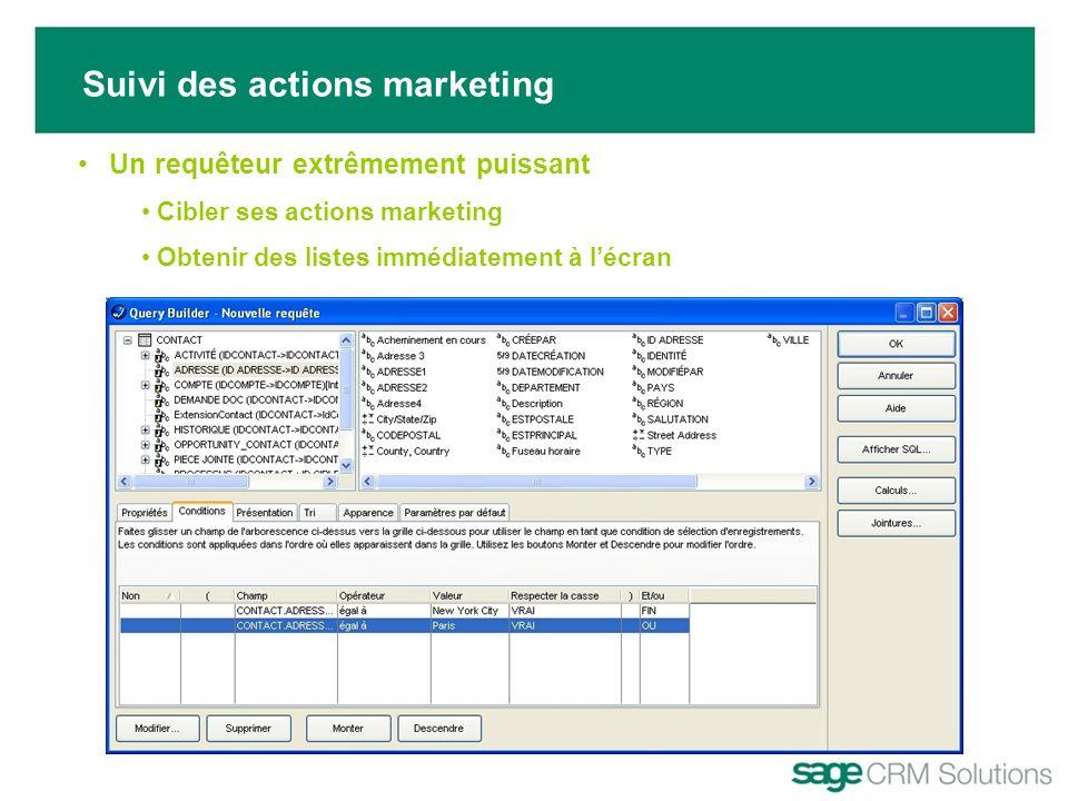 Suivi des actions marketing Un requêteur extrêmement puissant Cibler ses actions marketing Obtenir des listes immédiatement à lécran