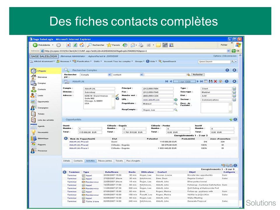 Des fiches contacts complètes