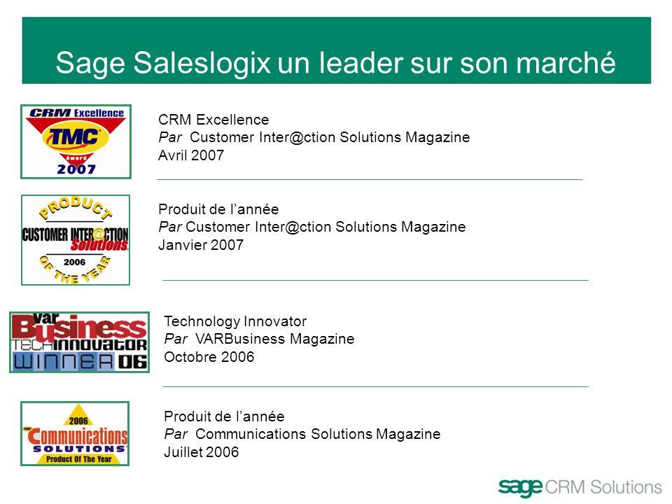 Sage Saleslogix un leader sur son marché CRM Excellence Par Customer Inter@ction Solutions Magazine Avril 2007 Produit de lannée Par Customer Inter@ct
