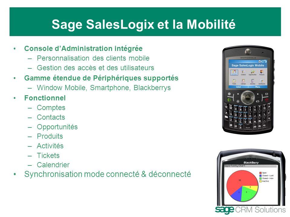 Console dAdministration intégrée –Personnalisation des clients mobile –Gestion des accès et des utilisateurs Gamme étendue de Périphériques supportés