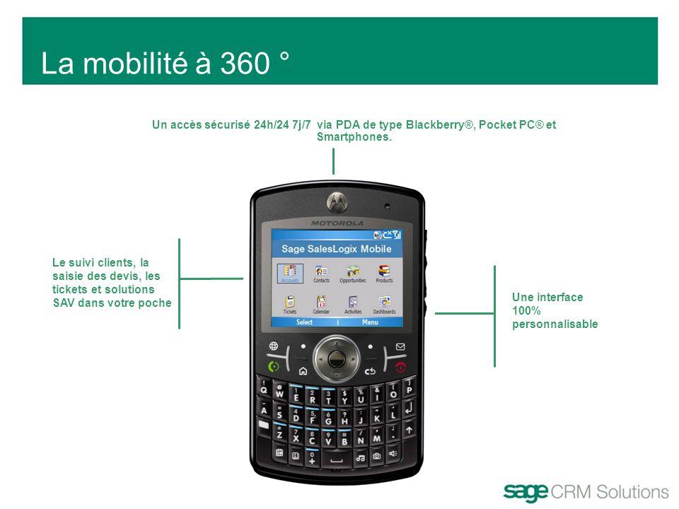 La mobilité à 360 ° Un accès sécurisé 24h/24 7j/7 via PDA de type Blackberry®, Pocket PC® et Smartphones. Une interface 100% personnalisable Le suivi
