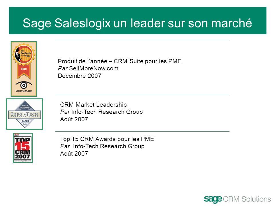 Sage Saleslogix un leader sur son marché Produit de lannée – CRM Suite pour les PME Par SellMoreNow.com Decembre 2007 CRM Market Leadership Par Info-T