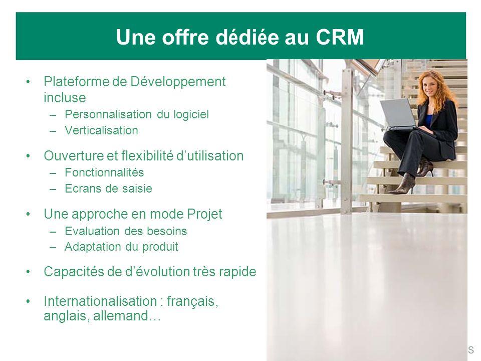Une offre d é di é e au CRM Plateforme de Développement incluse –Personnalisation du logiciel –Verticalisation Ouverture et flexibilité dutilisation –