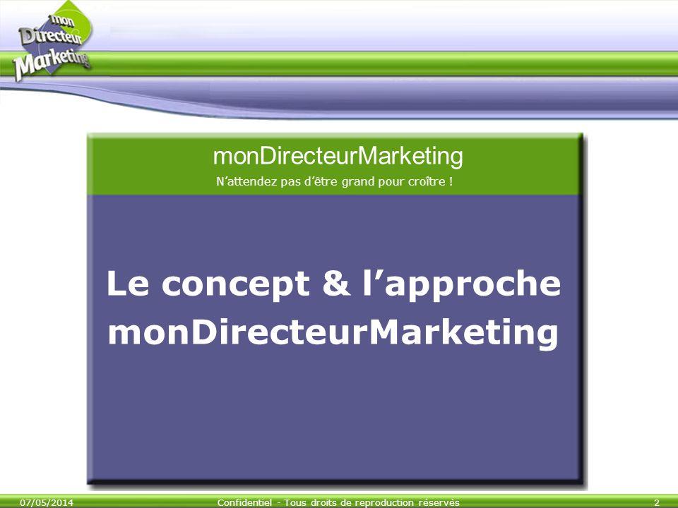 07/05/2014Confidentiel - Tous droits de reproduction réservés2 Le concept & lapproche monDirecteurMarketing monDirecteurMarketing Nattendez pas dêtre