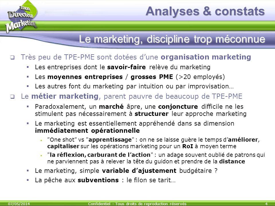 Analyses & constats Le marketing, discipline trop méconnue Très peu de TPE-PME sont dotées dune organisation marketing Les entreprises dont le savoir-