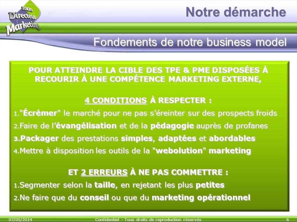 Notre démarche Fondements de notre business model POUR ATTEINDRE LA CIBLE DES TPE & PME DISPOSÉES À RECOURIR À UNE COMPÉTENCE MARKETING EXTERNE, 4 CON