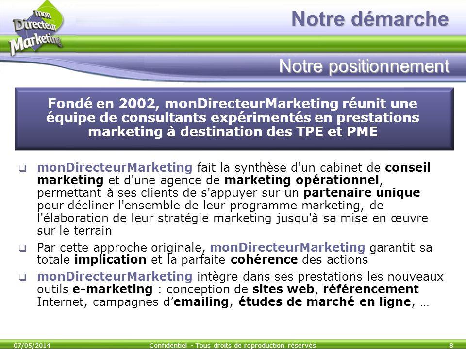 07/05/2014Confidentiel - Tous droits de reproduction réservés8 Fondé en 2002, monDirecteurMarketing réunit une équipe de consultants expérimentés en p