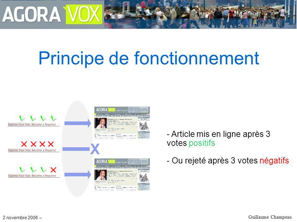 2 novembre 2006 – Guillaume Champeau Principe de fonctionnement - Article mis en ligne après 3 votes positifs - Ou rejeté après 3 votes négatifs