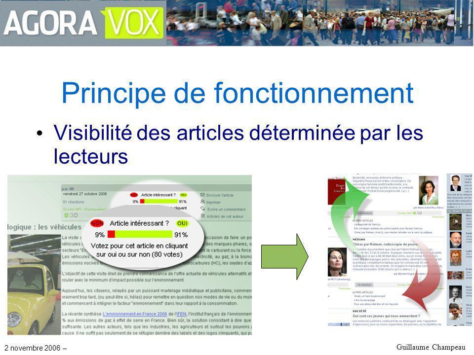 2 novembre 2006 – Guillaume Champeau Principe de fonctionnement Visibilité des articles déterminée par les lecteurs