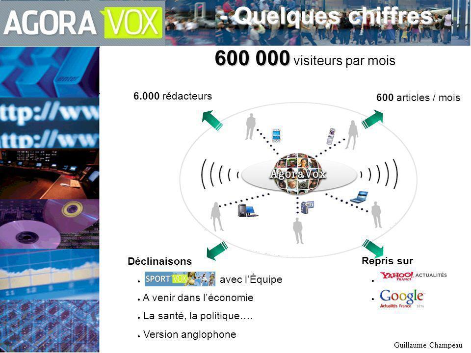 2 novembre 2006 – Guillaume Champeau 6.000 rédacteurs - Quelques chiffres - Quelques chiffres Déclinaisons avec lÉquipe A venir dans léconomie La santé, la politique….