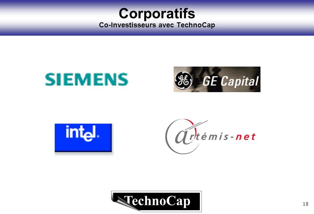 18 Corporatifs Co-Investisseurs avec TechnoCap
