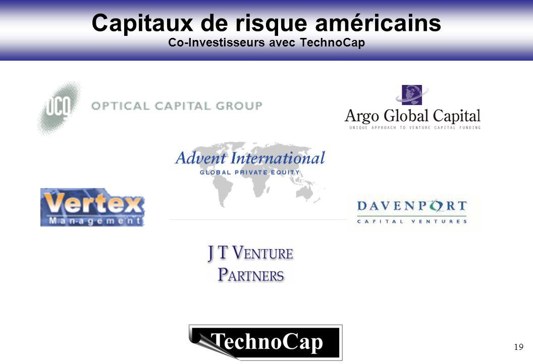 19 Capitaux de risque américains Co-Investisseurs avec TechnoCap