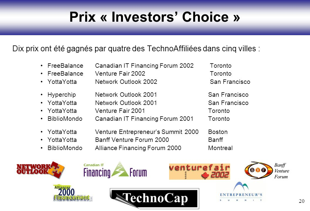 20 Prix « Investors Choice » Dix prix ont été gagnés par quatre des TechnoAffiliées dans cinq villes : FreeBalanceCanadian IT Financing Forum 2002 Toronto FreeBalanceVenture Fair 2002 Toronto YottaYottaNetwork Outlook 2002 San Francisco Hyperchip Network Outlook 2001San Francisco YottaYottaNetwork Outlook 2001San Francisco YottaYottaVenture Fair 2001Toronto BiblioMondoCanadian IT Financing Forum 2001Toronto YottaYotta Venture Entrepreneurs Summit 2000Boston YottaYotta Banff Venture Forum 2000Banff BiblioMondo Alliance Financing Forum 2000Montreal