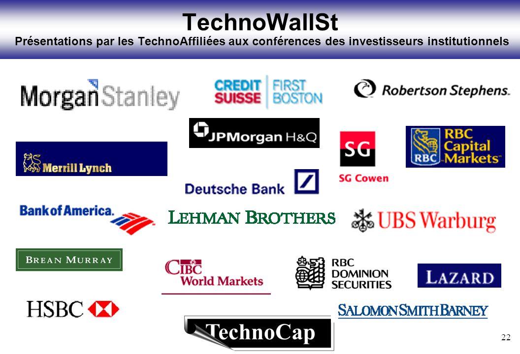 22 TechnoWallSt Présentations par les TechnoAffiliées aux conférences des investisseurs institutionnels