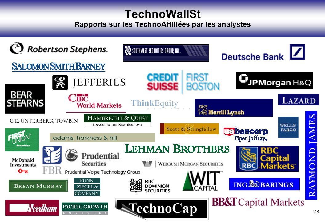 23 TechnoWallSt Rapports sur les TechnoAffiliées par les analystes