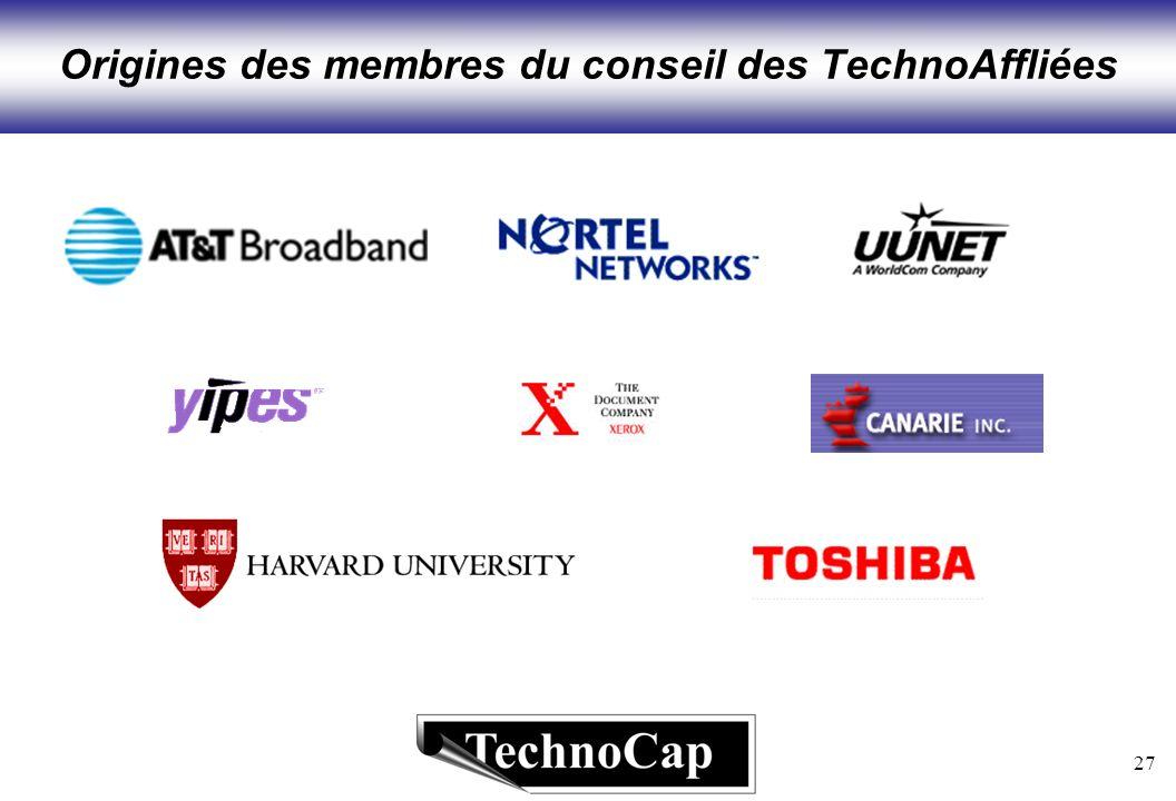 27 Origines des membres du conseil des TechnoAffliées