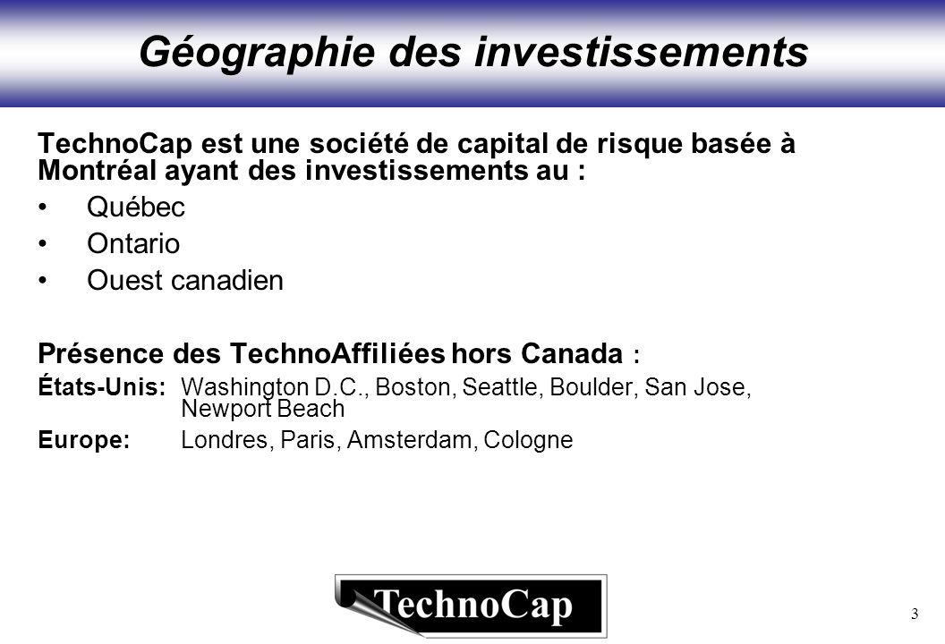 3 Géographie des investissements TechnoCap est une société de capital de risque basée à Montréal ayant des investissements au : Québec Ontario Ouest canadien Présence des TechnoAffiliées hors Canada : États-Unis:Washington D.C., Boston, Seattle, Boulder, San Jose, Newport Beach Europe: Londres, Paris, Amsterdam, Cologne