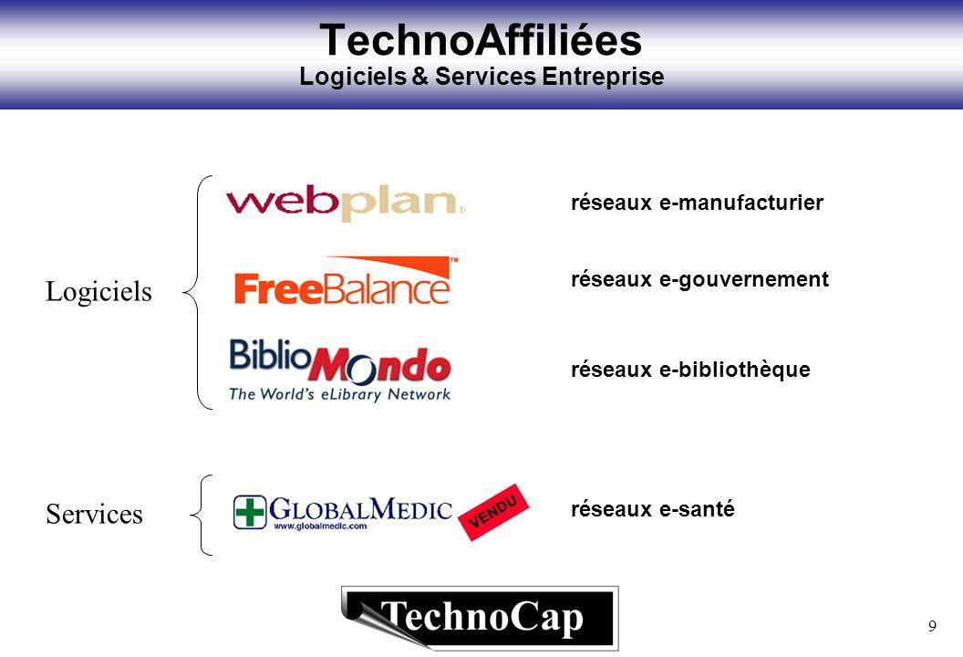 9 TechnoAffiliées Logiciels & Services Entreprise Logiciels Services réseaux e-gouvernement réseaux e-bibliothèque réseaux e-manufacturier réseaux e-santé VENDU