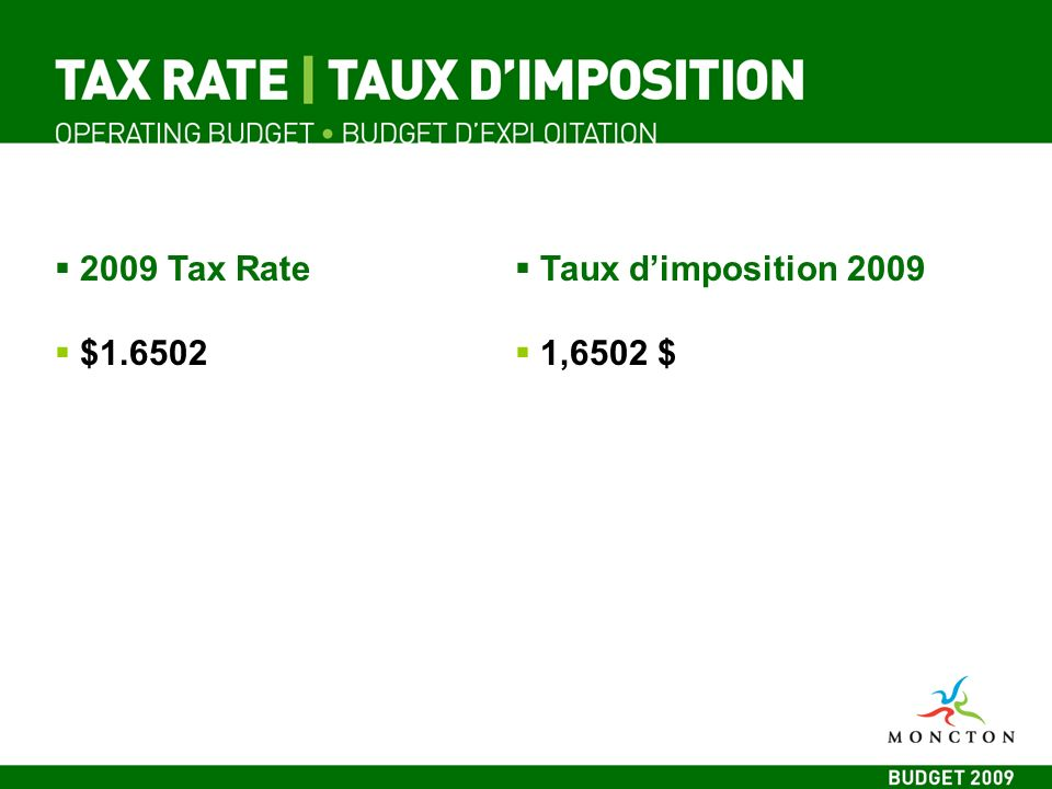 2009 Tax Rate $1.6502 Taux dimposition 2009 1,6502 $