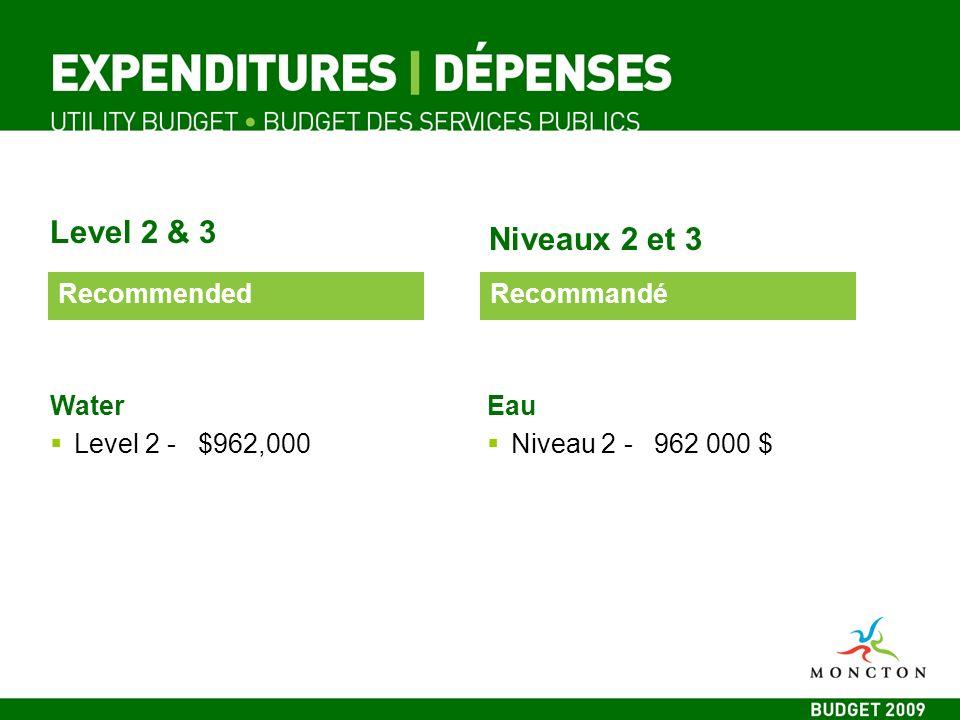 Level 2 & 3 Niveaux 2 et 3 Water Level 2 - $962,000 Eau Niveau 2 - 962 000 $ RecommendedRecommandé