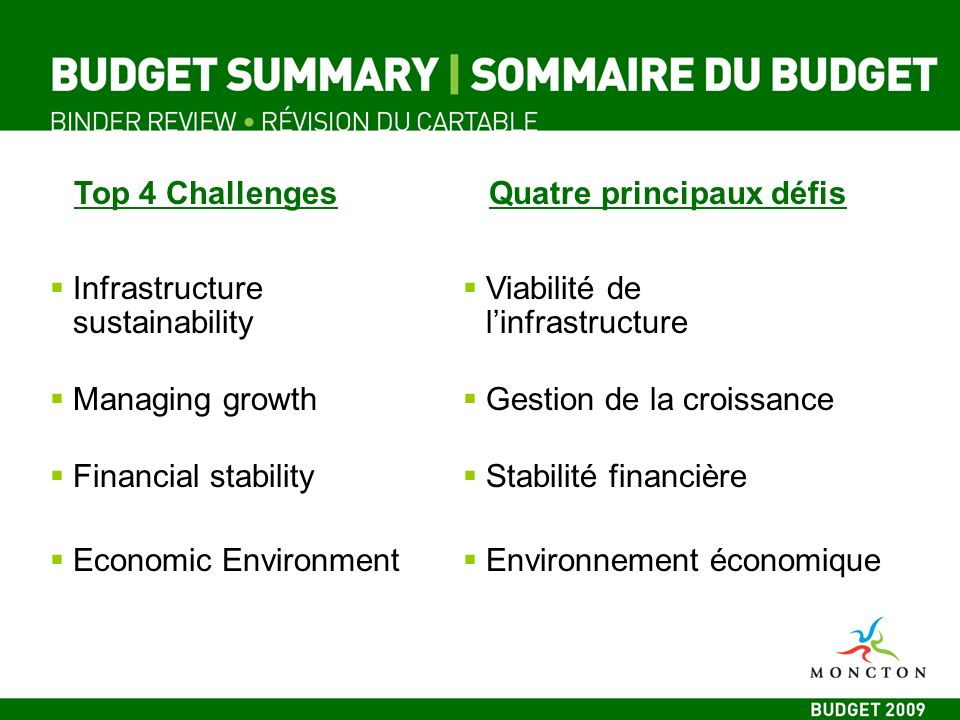Top 4 ChallengesQuatre principaux défis Infrastructure sustainability Managing growth Financial stability Economic Environment Viabilité de linfrastructure Gestion de la croissance Stabilité financière Environnement économique
