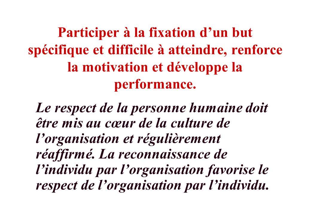© J-P. Egger, H. Müller Participer à la fixation dun but spécifique et difficile à atteindre, renforce la motivation et développe la performance. Le r