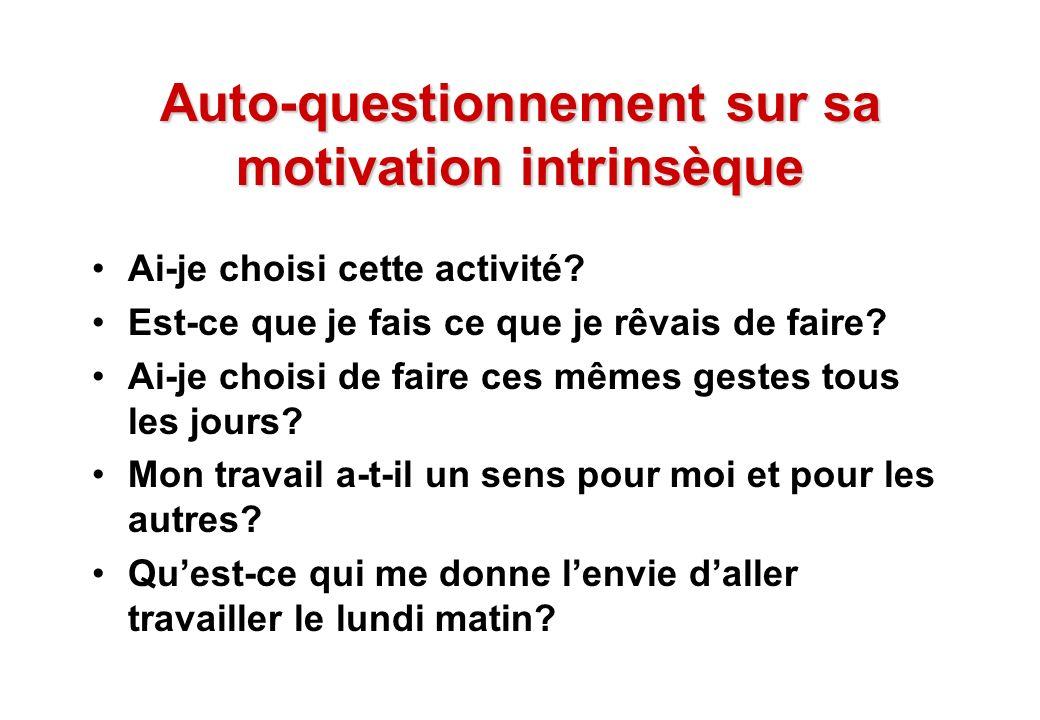 © J-P. Egger, H. Müller Auto-questionnement sur sa motivation intrinsèque Ai-je choisi cette activité? Est-ce que je fais ce que je rêvais de faire? A