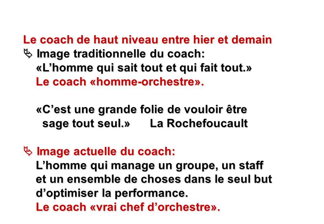 © J-P. Egger, H. Müller Le coach de haut niveau entre hier et demain Image traditionnelle du coach: Image traditionnelle du coach: «Lhomme qui sait to