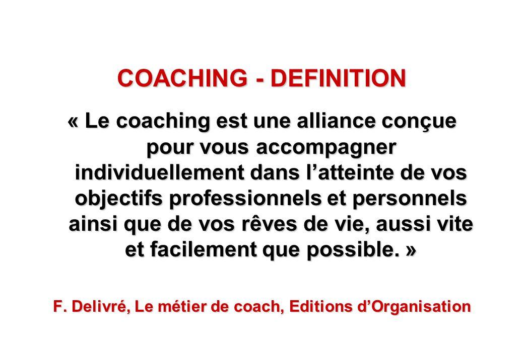 © J-P. Egger, H. Müller COACHING - DEFINITION « Le coaching est une alliance conçue pour vous accompagner individuellement dans latteinte de vos objec
