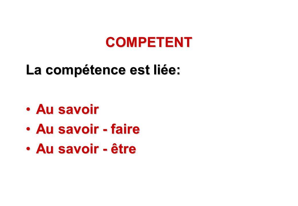 © J-P. Egger, H. Müller COMPETENT La compétence est liée: Au savoirAu savoir Au savoir - faireAu savoir - faire Au savoir - êtreAu savoir - être