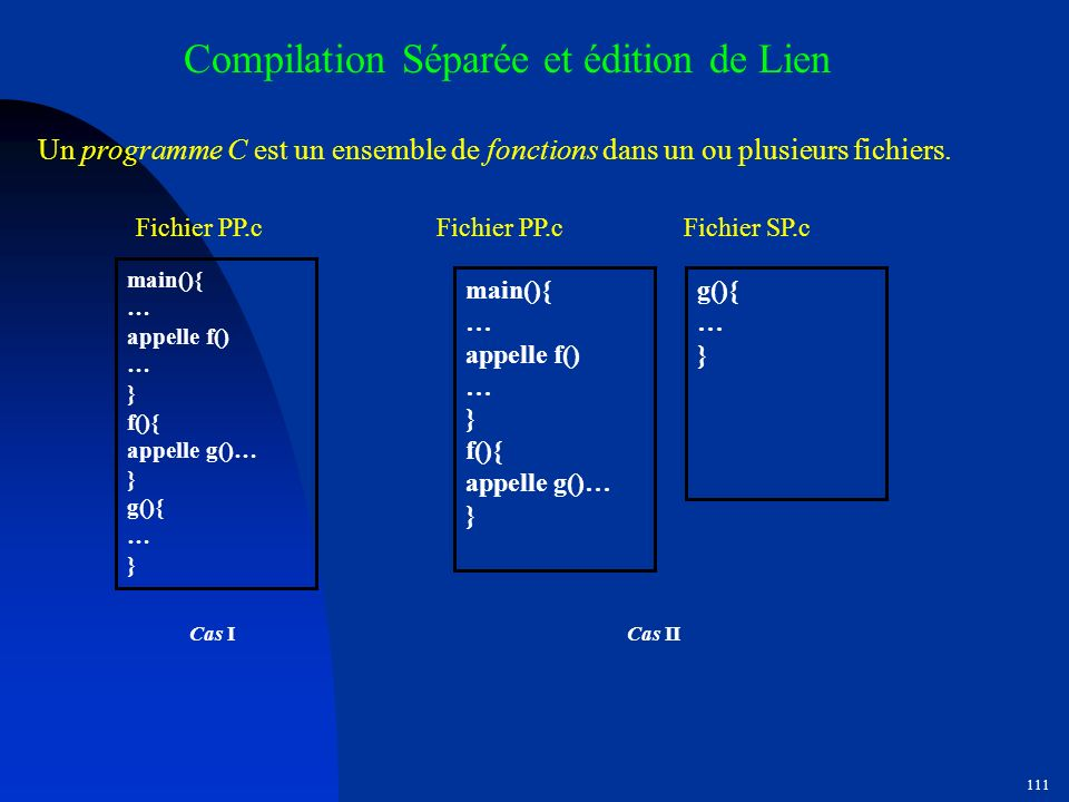110 Exemple décriture (lecture) de fichier #include void sauvegarde( char titre[], int n, float x[], int ind [] ) { int i=0; FILE *f; f = fopen(monfic