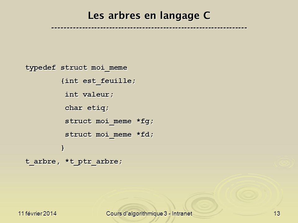 11 février 2014Cours d'algorithmique 3 - Intranet13 Les arbres en langage C ----------------------------------------------------------------- typedef