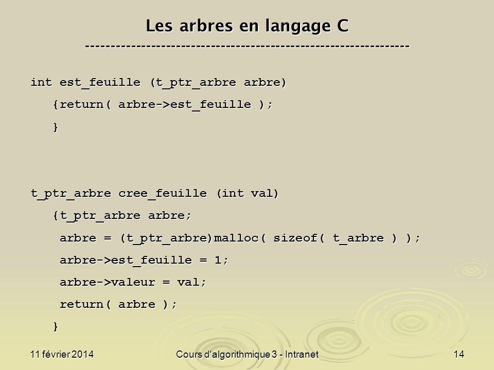 11 février 2014Cours d'algorithmique 3 - Intranet14 Les arbres en langage C ----------------------------------------------------------------- int est_