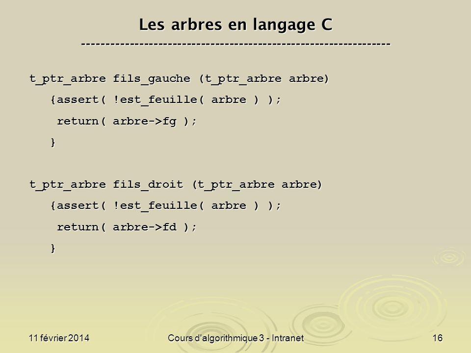 11 février 2014Cours d'algorithmique 3 - Intranet16 Les arbres en langage C ----------------------------------------------------------------- t_ptr_ar