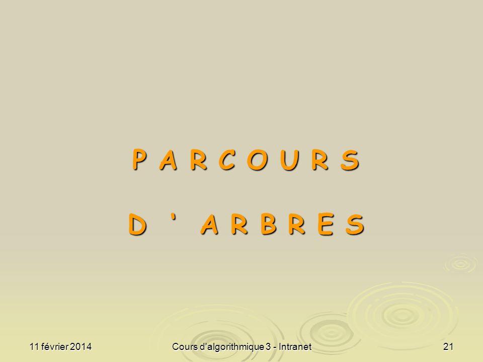 11 février 2014Cours d'algorithmique 3 - Intranet21 P A R C O U R S D A R B R E S