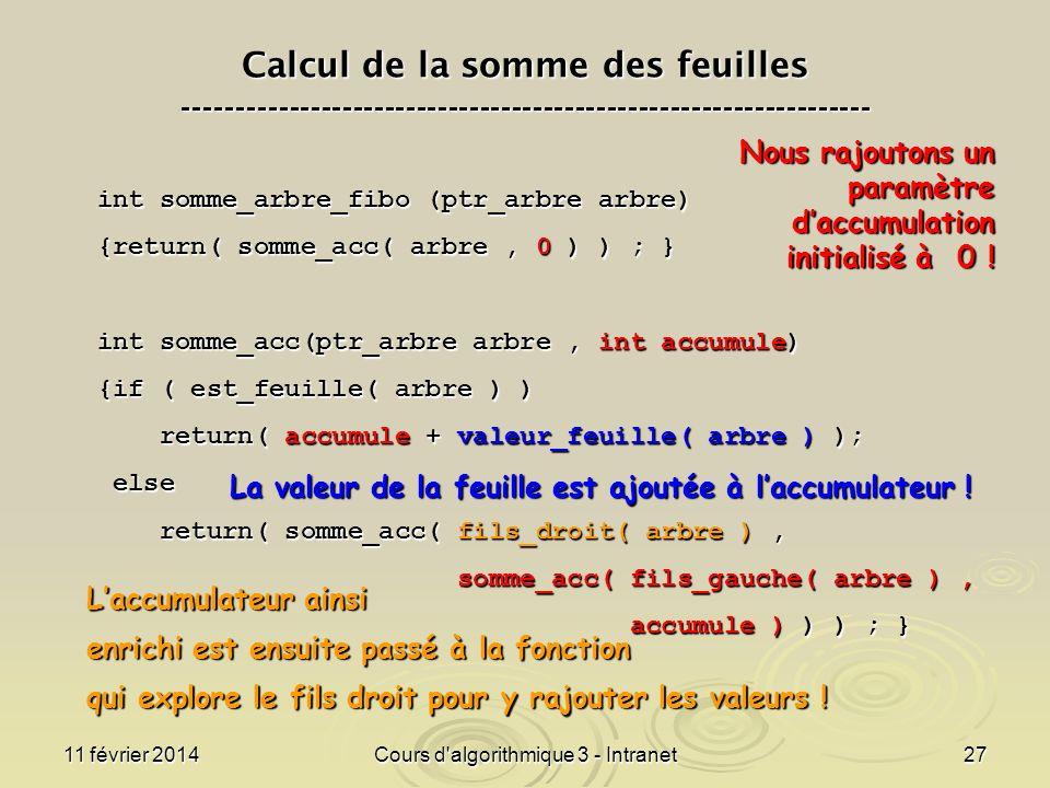 11 février 2014Cours d'algorithmique 3 - Intranet27 Calcul de la somme des feuilles -----------------------------------------------------------------