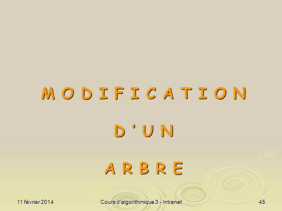 11 février 2014Cours d'algorithmique 3 - Intranet45 M O D I F I C A T I O N D U N A R B R E