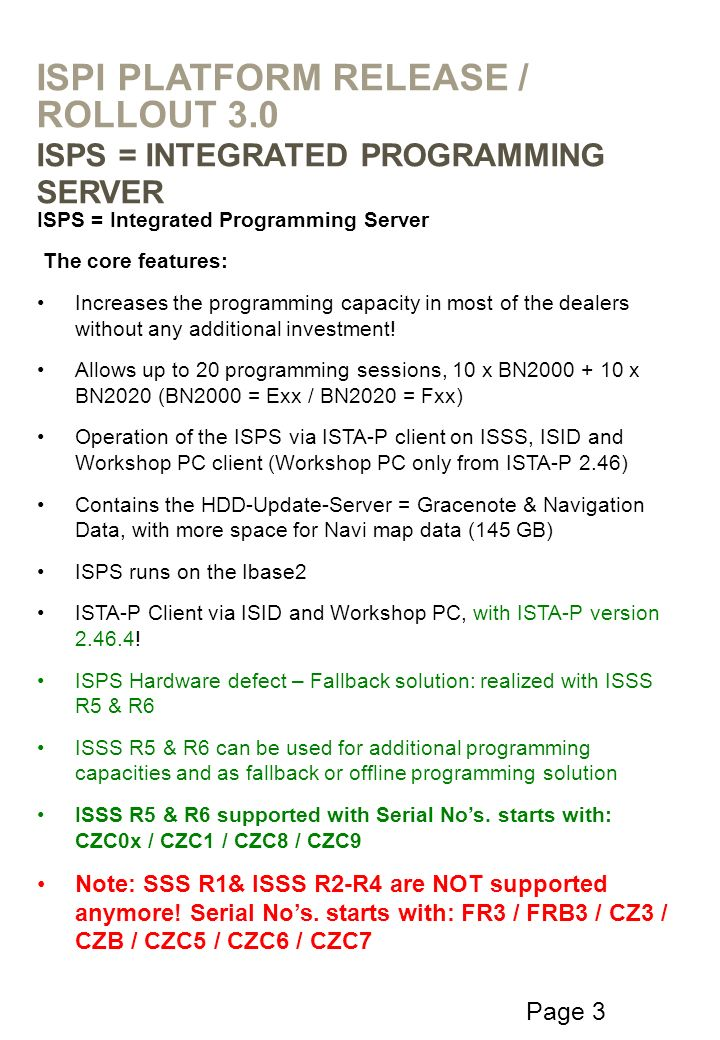 Page 3 ISPS = Integrated Programming Server The core features: Increases the programming capacity in most of the dealers without any additional invest