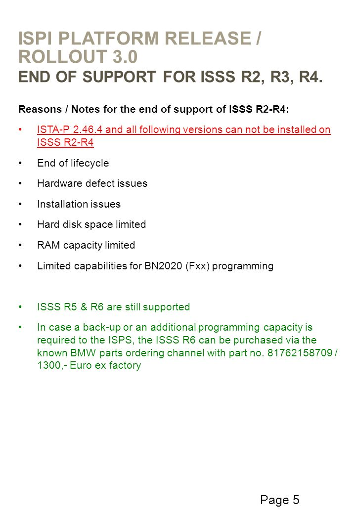 Page 5 Reasons / Notes for the end of support of ISSS R2-R4: ISTA-P 2.46.4 and all following versions can not be installed on ISSS R2-R4 End of lifecy