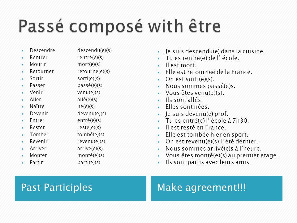 Past ParticiplesMake agreement!!! Descendredescendu(e)(s) Rentrerrentré(e)(s) Mourirmort(e)(s) Retournerretourné(e)(s) Sortirsorti(e)(s) Passerpassé(e