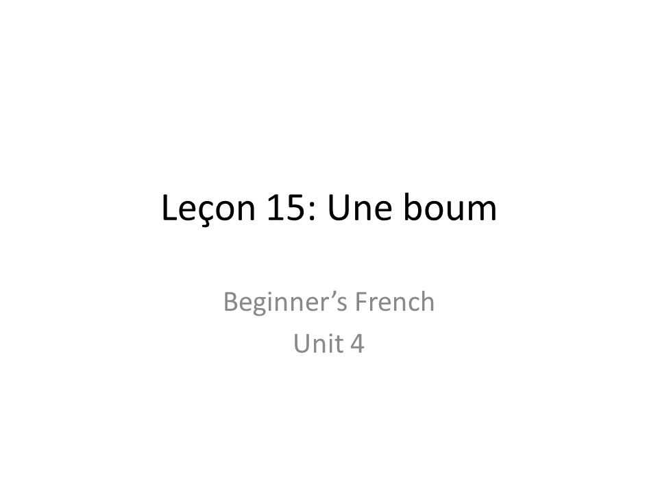 Leçon 15: Une boum Beginners French Unit 4
