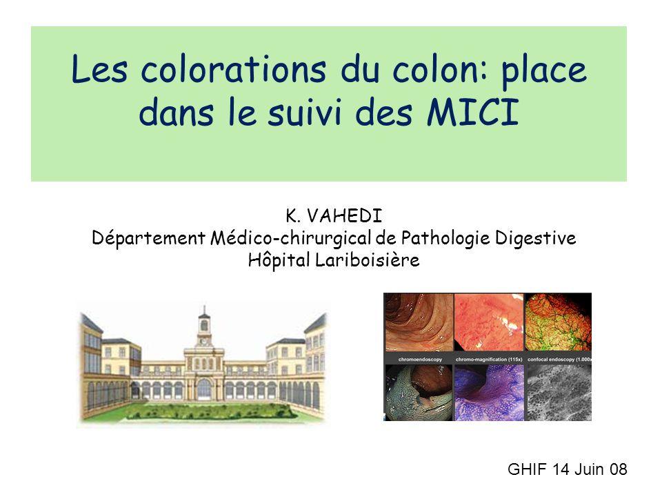 Les colorations du colon: place dans le suivi des MICI K. VAHEDI Département Médico-chirurgical de Pathologie Digestive Hôpital Lariboisière GHIF 14 J
