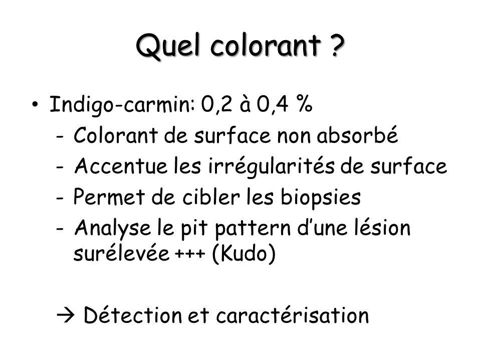 Quel colorant ? Indigo-carmin: 0,2 à 0,4 % -Colorant de surface non absorbé -Accentue les irrégularités de surface -Permet de cibler les biopsies -Ana