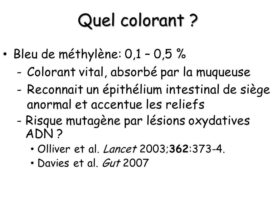 Quel colorant ? Bleu de méthylène: 0,1 – 0,5 % -Colorant vital, absorbé par la muqueuse -Reconnait un épithélium intestinal de siège anormal et accent