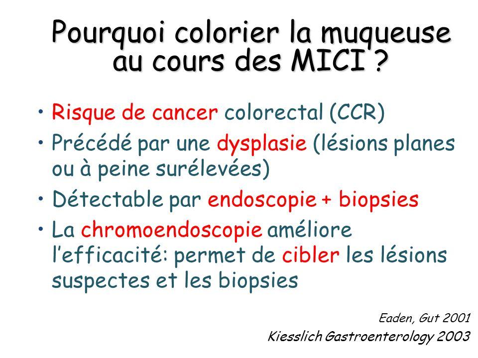 Pourquoi colorier la muqueuse au cours des MICI ? Risque de cancer colorectal (CCR) Précédé par une dysplasie (lésions planes ou à peine surélevées) D