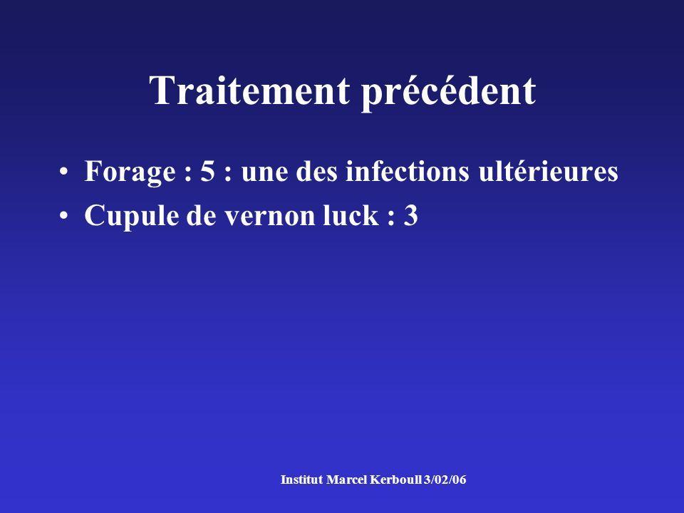 Traitement précédent Forage : 5 : une des infections ultérieures Cupule de vernon luck : 3