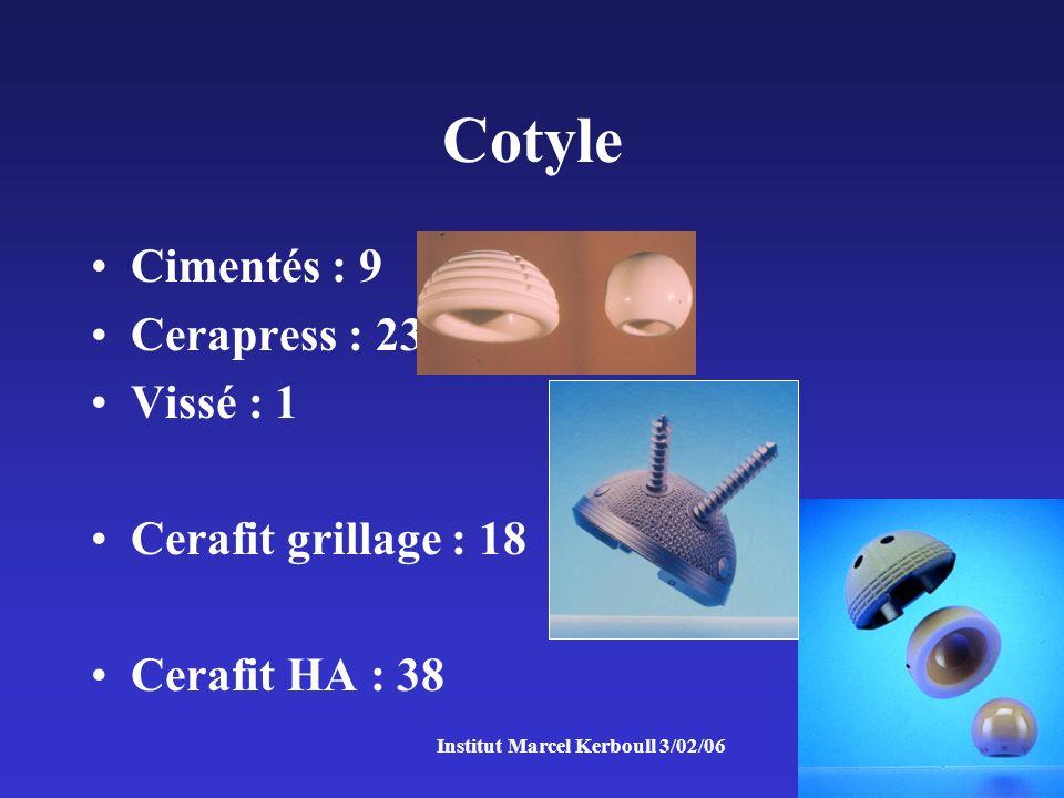 Institut Marcel Kerboull 3/02/06 Cotyle Cimentés : 9 Cerapress : 23 Vissé : 1 Cerafit grillage : 18 Cerafit HA : 38